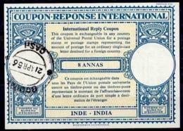 INDE / INDIA Lo16n 8 ANNASInternational Reply Coupon Reponse Antwortschein IRC IAS o BOMBAY CASH 21.4.56 - Sin Clasificación