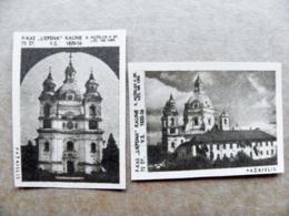 Old Matchbox Label 2 Labels Lithuania Pazaislis Church - Matchbox Labels