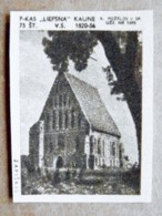Old Matchbox Label Lithuania Raseiniai Zapiskis Church - Matchbox Labels
