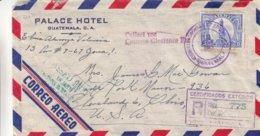 Guatemala - Lettre Recom De 1957 - Oblit Guatemala - Exp Vers Cleveland - Voir Cachet Vert + Griffe - Hôtellerie - Guatemala