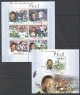 BC1144 2010 MOZAMBIQUE MOCAMBIQUE SPORT FOOTBALL LEGENDS PELE 1SH+1BL MNH - Calcio