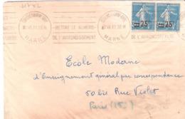 Affranchissement Divers Sur Lettre Oblitéré CHALONS SUR MARNE GARE - Postmark Collection (Covers)