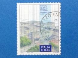 2004 ITALIA FRANCOBOLLO USATO STAMP USED SCUOLE E UNIVERSITA ISTITUTO TECNICO VITTORIO EMANUELE III LUCERA - 2001-10: Usados