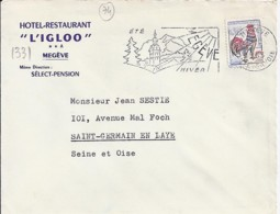 """TP N°1331 SUR LETTRE DE 1963 + ENTETE """"HOTEL RESTAURANT L'IGLOO/MEGEVE"""" - 1962-65 Coq De Decaris"""