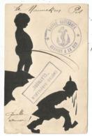CARTE SATIRIQUE DECOUPE DE PAPIER MANNEKEN PIS GRIFFE CONTRE TORPILLEUR CLAYMORE - Storia Postale