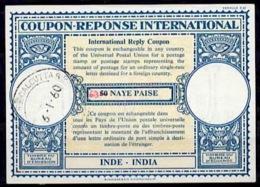 INDE / INDIA Lo16n ms. 63 / 50 NAYE PAISEInternational Reply Coupon Reponse Antwortschein IRC IAS o CALCUTTA 6.1.60 - Sin Clasificación