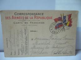 MILITARIA CORRESPONDANCE CARTE A FRANCHISE DES ARMÉES DE LA RÉPUBLIQUE CPA 1915 - Militaria