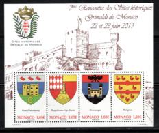 Monaco 2019.Bloc Sites Historiques Grimaldi De Monaco - Blocchi