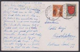 SCHOENE MISCHFRANKATUR 1921 VON ST.MORITZ NACH RUESCHLIKON - Pro Juventute
