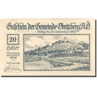Billet, Autriche, Obritzberg, 20 Heller, Village 1920-12-31, SUP, Mehl:FS 701a - Austria