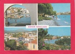 Modern Multi View Post Card Of Agios Nikolaos, Crete, Greece,X37. - Greece