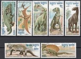 Cambogia 1986 Sc. 663-699 Animali Preistorici Dinosauri  Dinosaurs Cambodia Cambodge Nuovo CTO Full Set - Cambogia