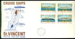 St. Vincent 1974 FDC Cruise Ships Mi 353-356 Slightly Damaged Left - St.Vincent E Grenadine