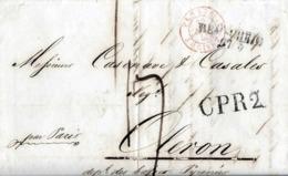 LETTRE ANCIENNE/MARQUE POSTALE PRECURSEUR 1846 < REMSCHEID(Allemagne)-/-GPR2-/- OLORON (Dpt64) - 1801-1848: Précurseurs XIX