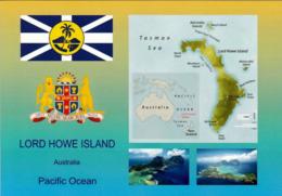 1 AK Lord Howe Island * Flagge, Wappen, Landkarte Und 2 Luftbildaufnahmen Der Insel Lord Howe UNESCO Welterbe * - Sonstige