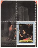 """1370 Fujeira 1973  """" Nativity """"  Quadro Dipinto Di Rembrandt Preobliterato Barocco Paintings Tableaux - Fujeira"""