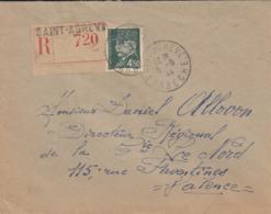 FRANCE. COCER REGISTERED. 5 6 1944. ST AGREVE TO VALENCE. PETAIN 4,50F - Briefmarken