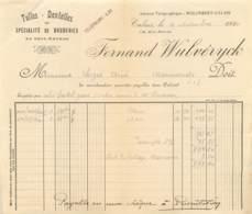 FACTURE FERNAND WULVERYCK - CALAIS - TULLES - DENTELLES - SPECIALITE DE BRODERIES - 1920 - 1900 – 1949