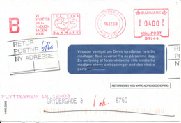 Denmark Cover With Meter Cancel Postage And Christmas Seal Ribe 16-12-2003 - Lettres & Documents