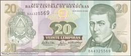 TWN - HONDURAS 92 - 20 Lempiras 26.8.2004 Prefix BA - Printer: GIESECKE & DEVRIENT UNC - Honduras