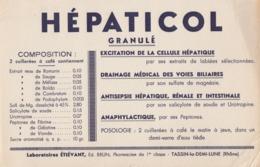 BUVARD PUBLICITÉ. HEPATICOL LABORATOIRE ETIEVANT TASSIN LA DEMI LUNE RHONE  / 6000 - Löschblätter, Heftumschläge