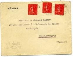 ROULETTES, Yv N° 199 X 3 Ex / Lsc Du Sénat Pour CONSTANTINOPLE  TB - Coil Stamps