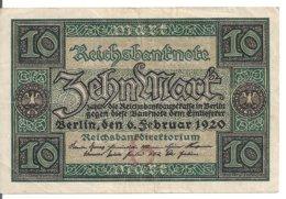 ALLEMAGNE 10 MARK 1920 VF+ P 67 - [ 3] 1918-1933: Weimarrepubliek