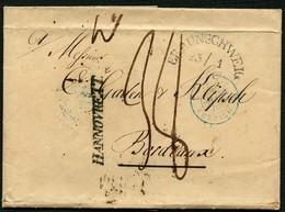 BRAUNSCHWEIG 1839, POSTVORSCHUSSBR. So BRAUNSCHWEIG, BLAUER + SCHWARZER TRANSIT - Brunswick