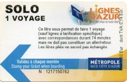 NIZA  -  NICE  France   TRAM - BUS - CREABUS Simple Ticket Used Tranvia Tranway Autobus - Bus