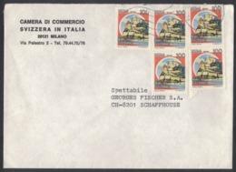 IA29  Storia Postale 1983 Busta Da Milano A Schaffhausen Svizzera - Castelli £. 100 X5 - 1981-90: Marcophilia
