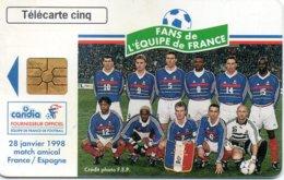 France - Espagne Football Match Telecarte Cinq 9700 Ex Used - Phonecard Futbol - Sport