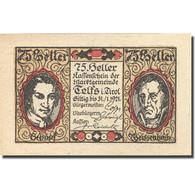 Billet, Autriche, Telfs, 75 Heller, Personnage 1921-01-31, SPL Mehl:FS 1061a - Austria