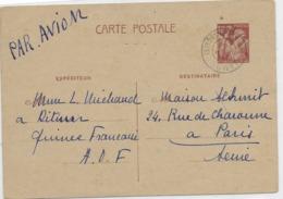 Entier Carte Postale Iris 80 Cts Oblitérée Guinée Francaise 1942. Texte Un Peu Surprenant Pour L'époque... - French Guinea (1892-1944)