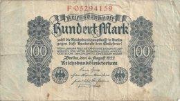 ALLEMAGNE 100 MARK 1922 VG+ P 75 - [ 3] 1918-1933 : Weimar Republic