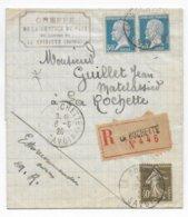 1926 - PASTEUR + SEMEUSE - LETTRE RECOMMANDEE De LA ROCHETTE (SAVOIE) => LA ROCHETTE - Postmark Collection (Covers)