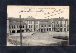 63 ST ELOY LES MINES - HOTEL DE VILLE ET ECOLES -EDIT R.M PERONIN  Le Mur  éclairage CPA 1912 - Saint Eloy Les Mines