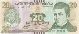 TWN -  HONDURAS NEW - 20 Lempiras 28.12.2016 (2018) Prefix CB - Printer: PWPW S.A. UNC - Honduras