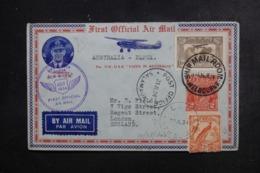 AUSTRALIE - Enveloppe 1er Vol Australie / Papouasie En 1934 Pour Londres, Affranchissements Plaisants - L 46267 - Marcophilie