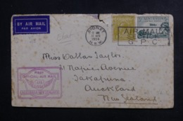 AUSTRALIE - Enveloppe 1er Vol Australie / Nouvelle Zélande En 1934 , Affranchissement Plaisant - L 46268 - Marcophilie