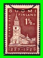 FINLANDIA  SELLO USADO AÑO 1929 TURKU CATHEDRAL - Finland