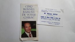 Tract Chirac Bernard Debré Invite Michel Noir élections Présidentielles 1988 Tours Politique - Historische Documenten