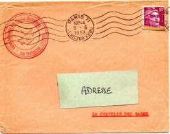 PARIS 71 / PL VICTOR HUGO (16e) 1953 (BD 3 Lignes) =  FLAMME RBV Muette '5 Lignes Ondulées' - Postmark Collection (Covers)