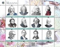 Moldova 2019, Great Composers, Bach, Mozart,  Beethoven, Mahler, Chopin, Sheet Of 12v - Moldavia