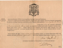 VP16.036 - 1892 - Document En Latin - Monseigneur Augustinus Hubertus JUTEAU Evêque De POITIERS - Religion & Esotericism