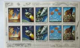 Königreich Jemen, Mondlandung Apollo XII Postfrischer Kleinbogen - Raumfahrt