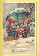 * Fantaisie - Fantasy - Fantasie * (Colorprint 53493) Bonne Année, New Year, Champignon, Gnome, Lutin, Jeux De Cartes - Nouvel An