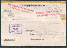 1940 Germany Kriegsgefangenpost POW Stalag IV-A Censor - Belgium. Instructional Cachets - Germany