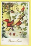 * Fantaisie - Fantasy - Fantasie * (JC) Bonne Année, New Year, Gnome, Dwarf, Lutin Kabouter, Champignon, Balançoire, Wip - Nouvel An