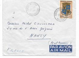 DIEGO SUAREZ - Lettre CIE DES MESSAGERIES MARI Cachet DIEGO SUAREZ 22.11.1964  Timbre Seul Ecusson Tananrive Vers Nancy - Madagascar (1960-...)