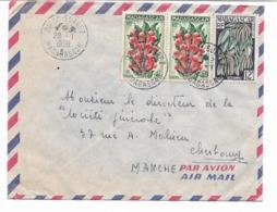 Beau Cachet DIEGO SUAREZ 28.1.1958 MADAGASCAR - Lettre Par AVION-3 Timbres Paire De Girofle+ Vanille  Vers CHERBOURG 2 S - Diego-suarez (1890-1898)